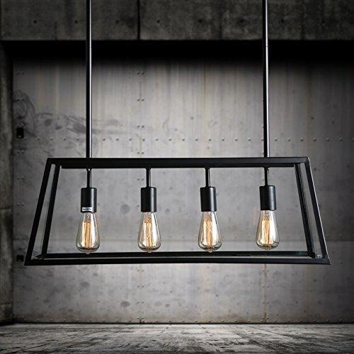 SDKKY Stile loft a ferro lampada da tavolo scatole di vetro sala da pranzo luminosa lampadario rettangolare Viva Creativo luci sala caffetteria personalità 780*290mm , un