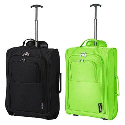 Set mit 2 SuperLeichter Cabin Approved Gepäck Travel Wheely Suitcase Radfahrtaschen Taschen (Grün + Schwarz 55CM)