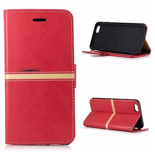 Voguecase Pour Apple iPhone 6 Plus/6s Plus 5,5 Coque, Étui en cuir synthétique chic avec fonction support pratique pour Apple iPhone 6 Plus/6s Plus 5,5 (Série élégante-Jaune)de Gratuit stylet l'écran  Série élégante-Rouge