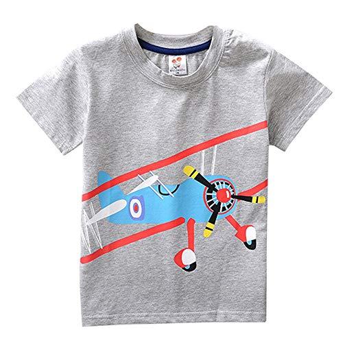 JUTOO Kleinkind Kinder Baby Jungen mädchen Kleidung Kurzarm fußball Cartoon Druck Tops t-Shirt Bluse (Grau,100)