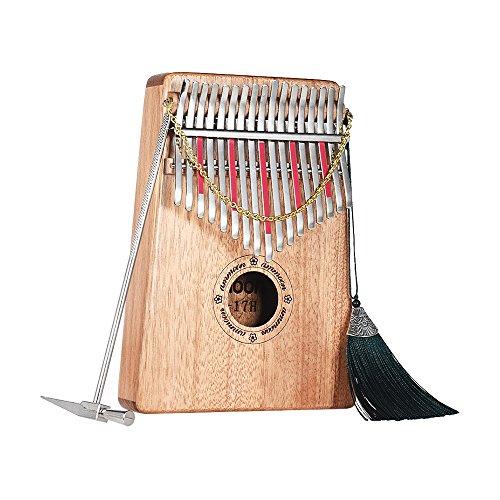ammoon Kalimba Daumen Klavier 17 Schlüssel Spp Massivholz mit Tragetasche Musikbuch Musikalische Skala Aufkleber Stimmhammer Musikalisches Geschenk AKP-17H