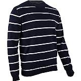hemmy Fashion Herren Pullover Rundhals gestreift - dunkelblau - navy/weiß XXL