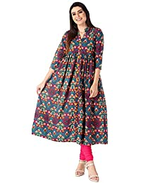 M&D 3/4 Sleeve Casual Printed Pure Cotton Long A-Line Kurti for women