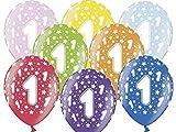 6 Luftballons bunt gemischt 1. Geburtstag