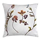 dingjiakemao Flower Decor Throw Pillow Cushion Cover, Book Dried Cute Flowers Lilacs Daisies Tulips Leaves Garden Buds Art Print, Decorative Square Accent Pillow Case, 18 X 18 inches, Multicolor