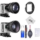 Neewer® Alta definición profesional Kit de lente y limpieza para Gopro Hero3 +, Hero4 cámaras, Kit incluye: (1) 52mm 2 X lente telefoto + (1) 52mm 0.45 X lente de ángulo ancho con lente MACRO desmontable + (1) 52 MM GoPro Hero3 + / 4 resistente al agua carcasa adaptador anillo + 5-En-1 profesional Set de limpieza incluyendo (1)Pluma de limpieza de la lente + (1) Soplador de aire limpiador (1) Botella spray vacía + (1) Paño de limpieza de microfibra + (8) Bastoncillos de algodón