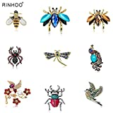 WYFCP Brooch Newest Natural Animals Jewelry Brooch Pins Bee Dragonfly Insect Parrot Bird Beetle Brooches for Women Costume Brooch Pins Gift