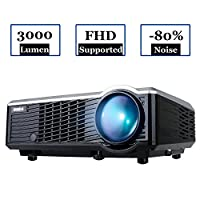 Projector, Video Projector HD 3000 lumens Portable LED Projectors 1080p 854*540 Multimedia Home Cinema Theater for Games and Parties Support PC Laptop Smartphone Xbox TV Box (Black)