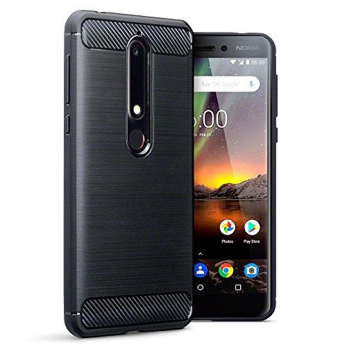 TERRAPIN, Kompatibel mit Nokia 6 2018 / Nokia 6.1 Hülle, TPU Schutzhülle Tasche Case Cover mit Karbonfaser & Ausgebürstet Dessin - Schwarz