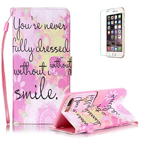 Custodia iphone 7 Plus in Pelle,Funyye Smile Disegni Elegante Libro Portafoglio Cover e Pellicola Protettiva Copertura [CordinoiphoneSupporto StandiphonePorta CarteiphoneChiusura Magnetica] Protettivo Caso Shell Skin Bumper Per Apple iphone 7 Plus Flip Wallet Leather Case With Hand Strap Lanyard Screen Protector