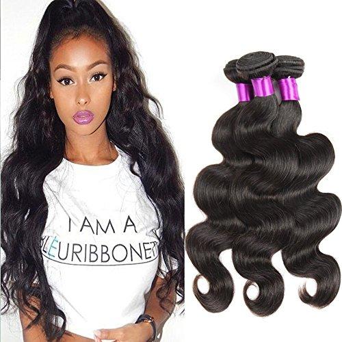Tissage bresilien en lot pas cher Corps vierge brésilien Cheveux 3 Bundles Body Wave 100g Sans traitement naturel Couleur 100% Extensions de cheveux humains (14 16 18Inch )