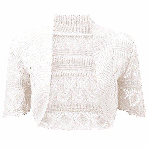 fashionchic femmes BOLERO étole femmes grande taille crochet cardigan tricot grande taille étole Haut 8-30 Blanc