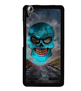 Fuson Green Horror Skull Graphics Designer Back Case Cover for Lenovo A6000 :: Lenovo A6000 Plus :: Lenovo A6000+ (Parish Wonder Vintage Eiffel Tower Car Bike Scooter Cassette Coffee)