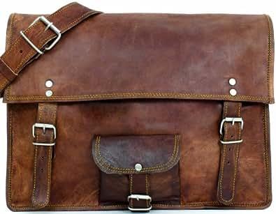 """Gusti Cuir nature """" Vente de stock"""" sac porté épaule sac bandoulière vintage université ordinateur portable notebook 15"""" ipad sacoche besace cabas sac en cuir marron U42b"""