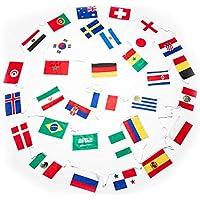 XXL Fahnenkette zur WM 2018 in Russland - 12 Meter mit 32 Fahnen Aller Teilnehmer - Flaggenkette Fahnengirlande Perfekt zur Fußball Weltmeisterschaft - Party Dekoration für Innen & Außen
