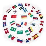 XXL Fahnenkette - 12 Meter mit 32 Fahnen - Flaggenkette Fahnengirlande perfekt zur - Party Dekoration für Innen & Außen