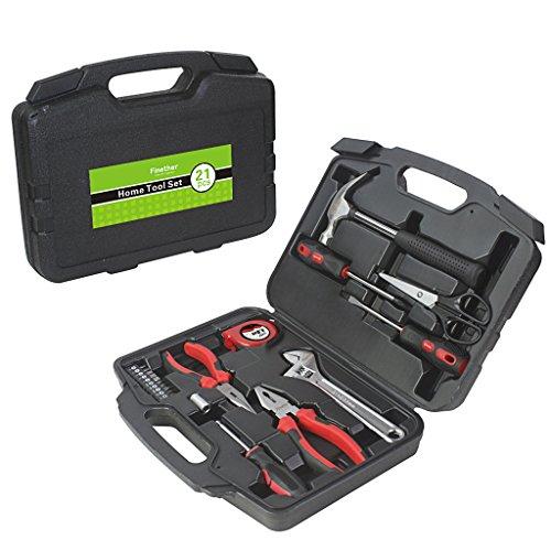 Finether 21-teilig Haushalts-Werkzeugkoffer Werkzeug-Set Handwerkzeug-Set Präzisions-Kit für die Gartenarbeit Elektriker   Handwerkzeuge steckschlüsselsatz Schraubenzieher mit werkzeugbox