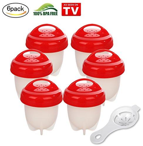 6PCS Eierkocher, AXUAN Egglettes Egg Cooker BPA frei, Egg Boiler Weiches Silikon-Ei das Formen kocht Hart Gekochte Eier ohne Schale (Rot)
