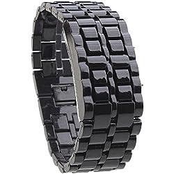 HopCentury Lava LED Watch Unisex Digital Bracelet Wristwatch Metal Band for Men Kid Women - Red LED Light