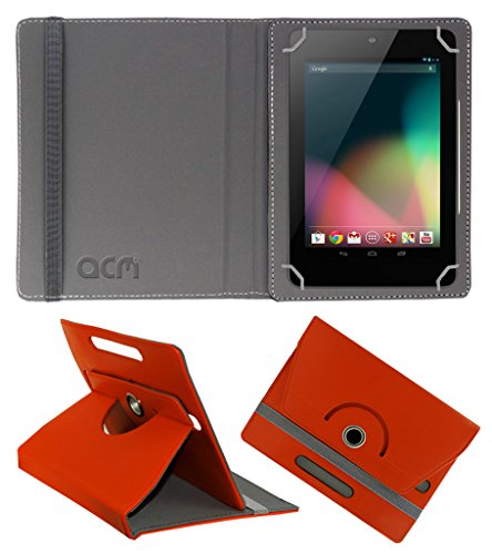 Acm Rotating 360° Leather Flip Case for Asus Google Nexus 7 2012 Cover Stand Orange  available at amazon for Rs.149