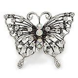 Avalaya Schmetterling-Ring mit großen, klaren Kristallen, Metall im Antik-Silber-Look, 60 mm Länge, Größe verstellbar
