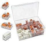 WAGO Klemme (85 Stück) Set Sortiment Serie Compact 221-412 | 221-413 | 221-415 | 224-112 Leuchtenklemme in praktischer Klarsichtdose