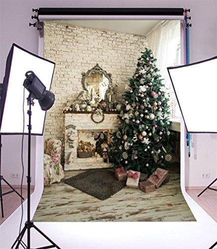 Hintergrund Weihnachten Baum Kamin Geschenke Schachtel Teppich Garland Brick Wall Holzboden Innere Fotografie Hintergrund Fotoshooting Portrait Party Kinder Fotostudio Requisiten ()