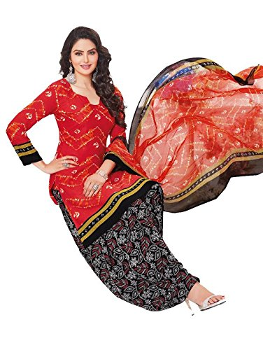 AASRI Party Wear Red Black Synthetic Crepe Printed Unstitched Dress Materials for...
