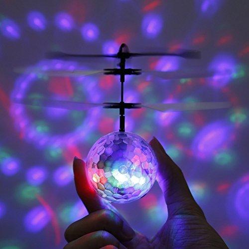 RC fliegender Ball mit LED Leuchtung Disco Musik Spielzeug RC Infrarot Induktionshubschrauber Ball für Kids - 6