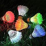 RZBZBRY 4 Pcs LED Coloré Badminton Volant Balle Nuit Sombre Brillant Plume D'Éclairage Balles Raquette Sport Badminton Accessoires