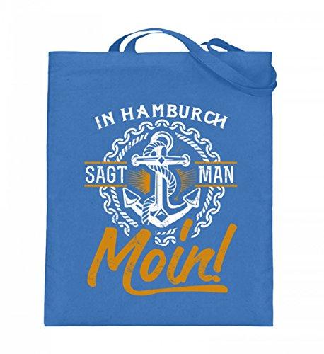 Hochwertiger Jutebeutel (mit langen Henkeln) - HAMBURG - MOIN Blau