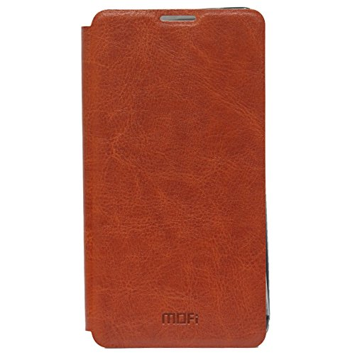 Jo Jo Mofi Leather Flip Cover Case With Slim Back Stand For Zte Redbull V5 V9181 Brown  available at amazon for Rs.140