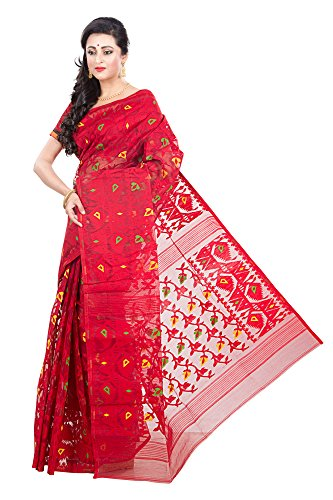 RLBFashion Women's Cotton Silk Handloom Dhakai Jamdani Saree (Red)