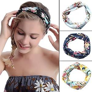 Aibrou 4Pcs Headbands Cheveux Femme Extensible Vintage Bandeau Femme Hair Accessoires Hairband élastique