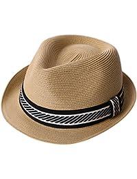 884bfb1d0b3 SiggiHat Mens Fedora Trilby Straw Sun Hats Summer Panama Beach Sunhats for  Men Foldable Short Brim