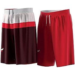 adidas Smr Rn Rev Shrt Pantalón Corto Chicago Bulls de Baloncesto, Hombre, Rojo (Nbacbu), L