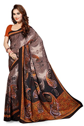Ishin Faux Georgette Brown & Black Floral Printed Women's Saree.  available at amazon for Rs.299