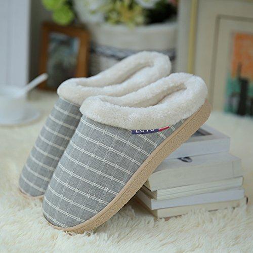 LaxBa Glisser sur lhiver au chaud en Fausse Fourrure Chaussons neige bordée Chaussures pour hommes , Gezhi - gris clair