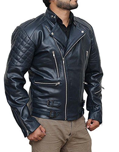 Blue Leather Moto Jacket - Veste Moto en cuir bleu Bleu