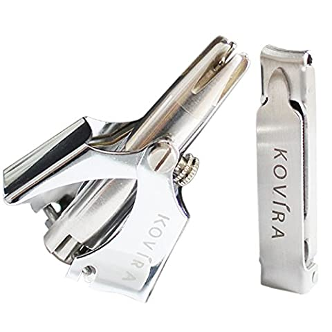 Nose Hair Trimmer with Nail Clipper & Cleaning Brush - No Batteries Required - Manual Stainless Steel Nose & Ear Hair Remover for Men & Women