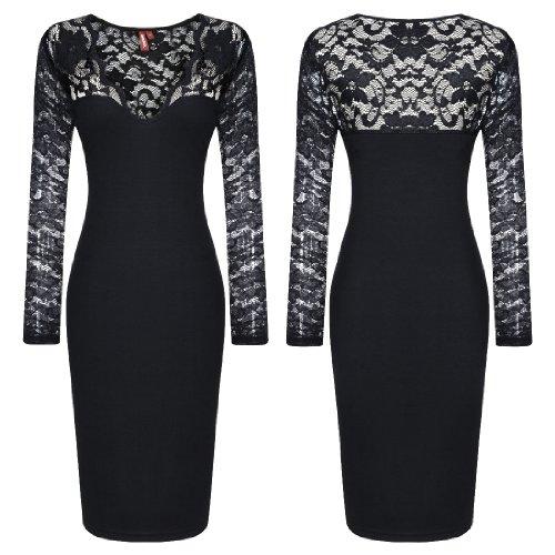 Miusol Damen elegant Abendkleid Spitzen V-Ausschnitt Cocktail Ballkleid Langarm Kleid schwarz/Weiß Gr.34-46 (EU 46 (XXL), Schwarz) - 6