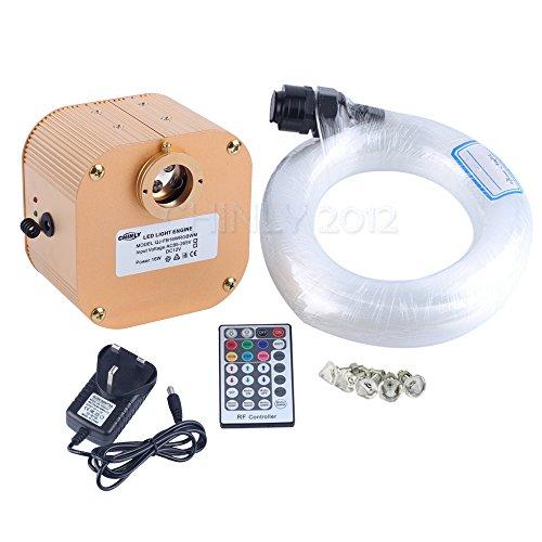 Faseroptik-stränge (CHINLY 16W RGBW Twinkle 28key Fern LED Faser Stern Deckenleuchte Installationssatz 335 Stränge 4m lang, (0.75 + 1.0 + 1.5mm) optischer Fiber + Crystal)