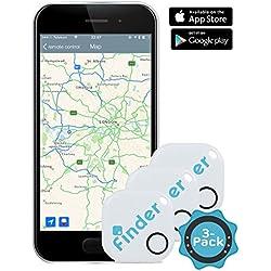 musegear® finder Localizador de llaves (banco, 3 Paquete) | Encuentre sus objetos perdidos mediante la aplicación gratuita (iPhone y Android) | El gadget definitivo a modo de llavero o accesorio para el coche