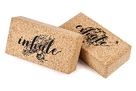 Cork Yoga Block KeenFlex - Light & Compact Set of 2 - Made from 100% Natural Eco Material (Inhale & Exhale)