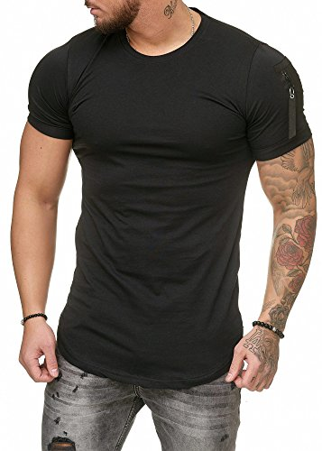 Oversize Herren Vintage T-Shirt Basic Shirt Round Neck Zipper Schwarz L