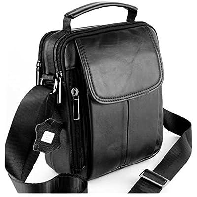 Sacoche Homme - Porté main ou épaule - Cuir de Vachette - 7029-A - Noir