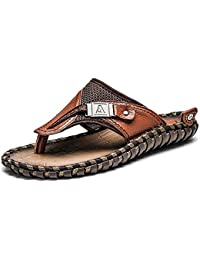 4d3c8a6a497 ODEMA Mens Classic Premium Leather Flip Flops Sandals Extra Large Size  Summer Beach Slippers