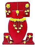 #10: Spectrumjaipur Floret Yellow Gota Patti Necklace, Earrings, Bracelet & Maang Tika For Women & Girls (Mehandi/Haldi)