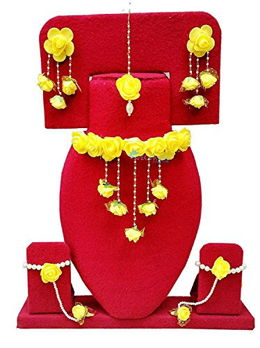 Shivi Jewels Bharat Sales Women's Non-Precious Metal Gota Patti Necklace, Earrings, Bracelet and Maang Tika (Yellow)