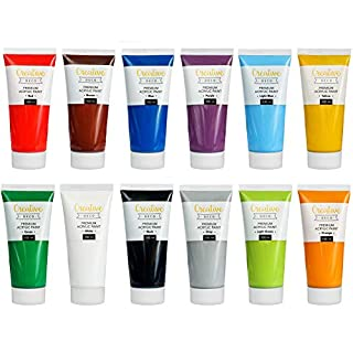 Creative Deco Acrylic Paint Set Large   12 Jumbo 100ml Tubes   Perfect for Beginners, Children, Students & Professional Artists   Perfect for Wood, Canvas, Fabric and Paper